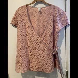 Old navy pink cross over top